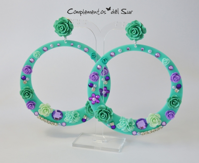 pendientes-de-flamenca-verde-esmeralda